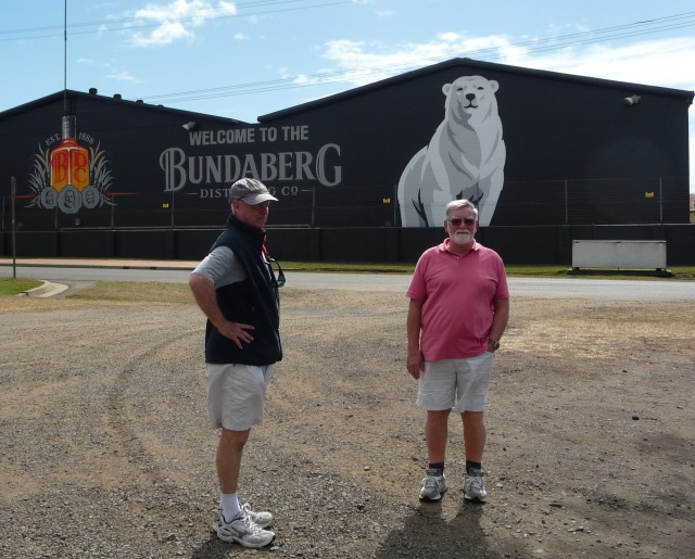 Geard and Bill outside the Bundaberg Distillery